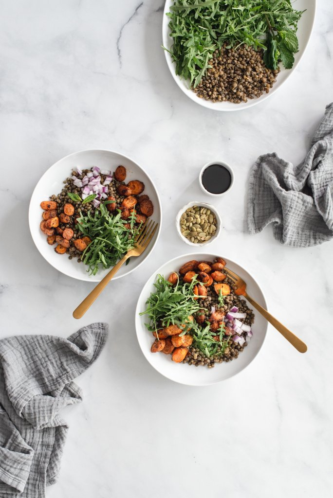 Masala Lentil Salad with Cumin Roasted Carrots