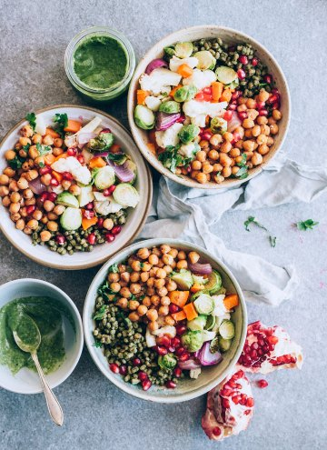Autumn Harvest Bowls with Freekeh and Parsley-Tahini Sauce
