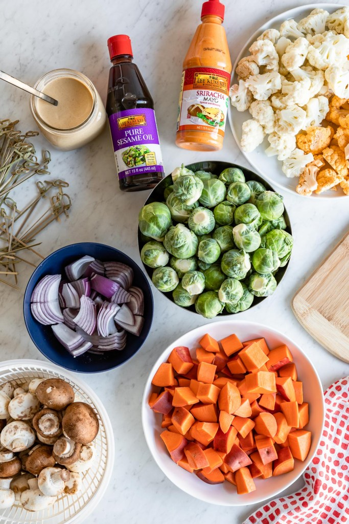 Roasted Vegetable Kabobs with Creamy Sesame Tahini Dipping Sauce and Sriracha Mayo