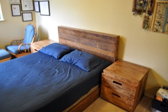 Platform Bed + Horizontal Plank Headboard + Side Table # 12