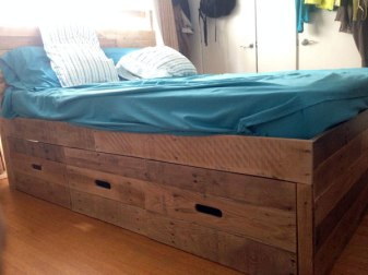 Platform Bed + Side Drawers with Slot Handles # 11