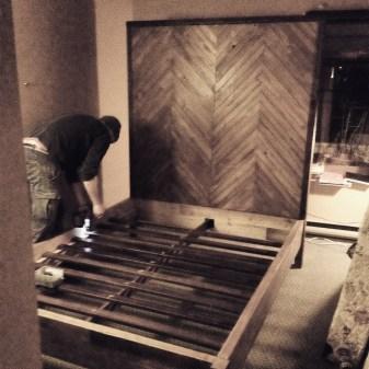Basic Bed Frame with Large Herringbone Headboard # 6