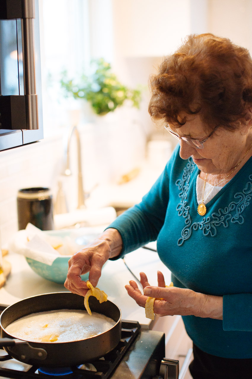 Nonna uses her hands to panfry the crostili pastries
