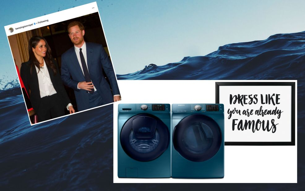 Prince Harry Meghan Markle decor mood board with blue tones for their new home