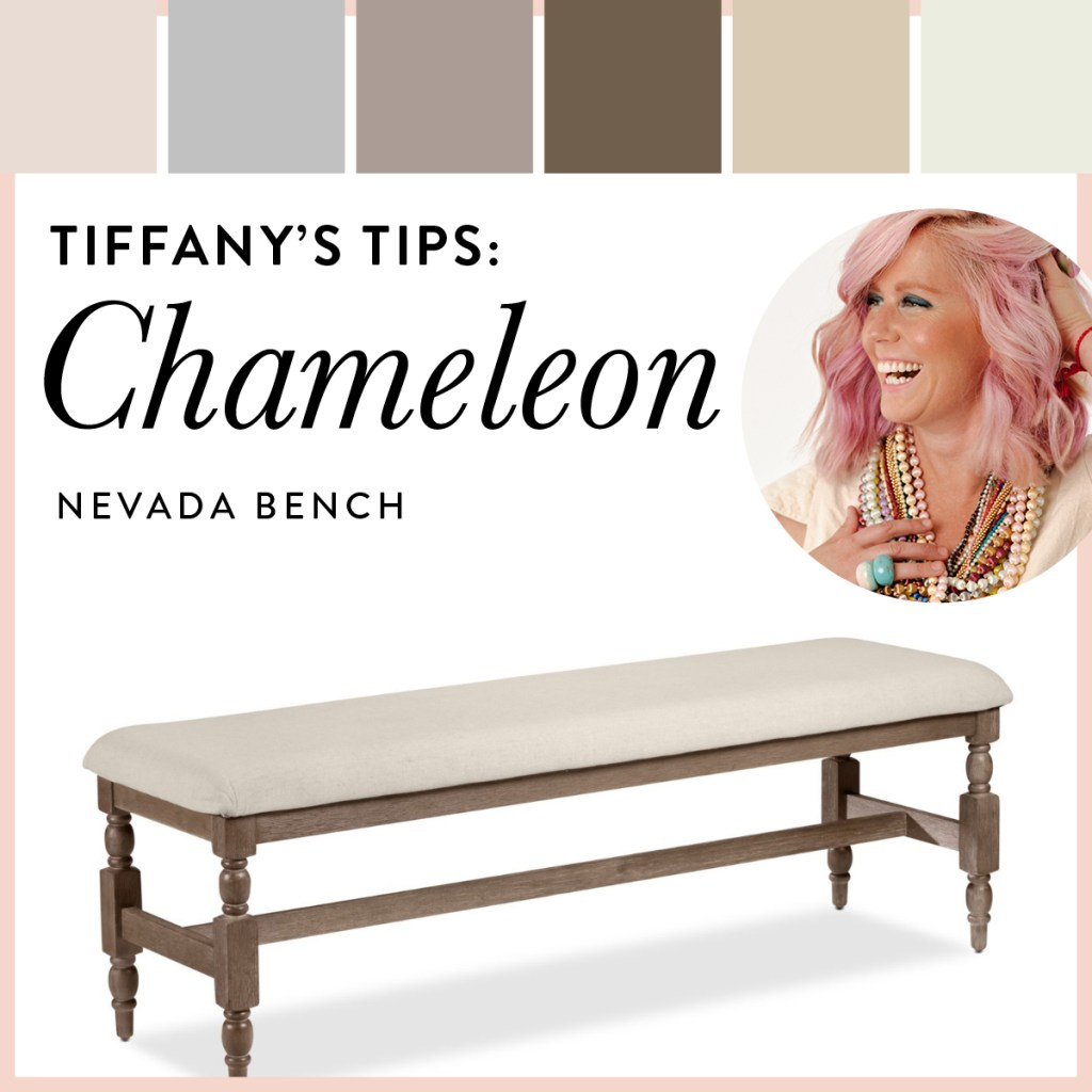 Neutral bench with spindle carved legs shown with pastels and earthtones.