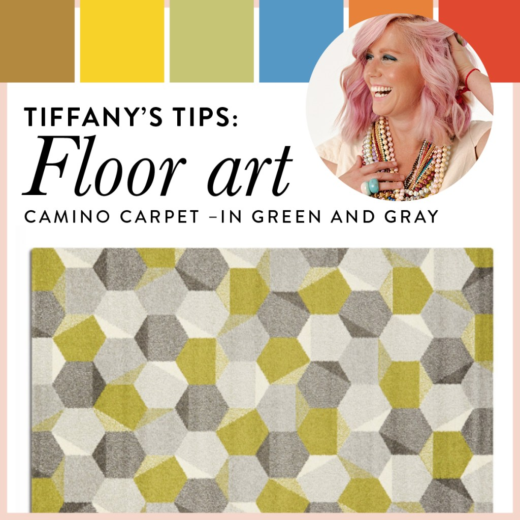 This geometric rug is paired with spring hues of yellow, green and orange