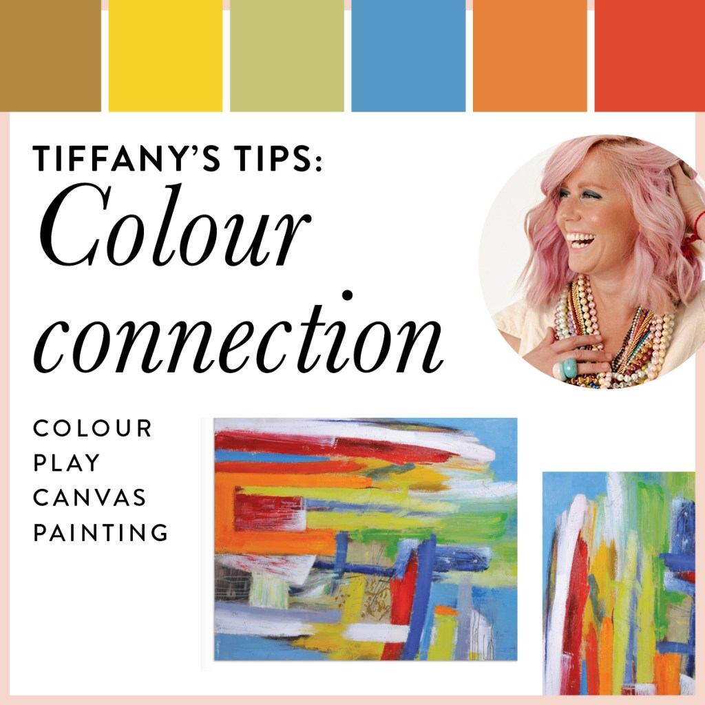 The Colour Play canvas print is a mix of primary colours and thick swatches of paint.