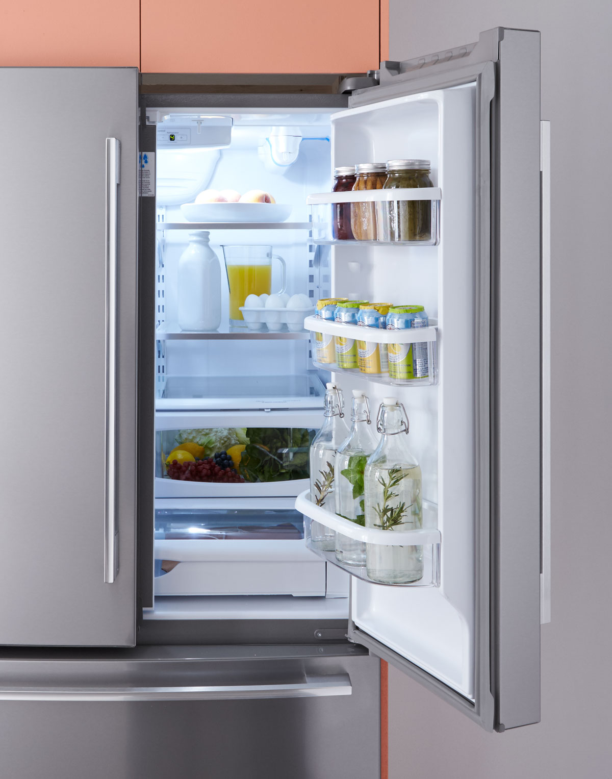 modern kitchen fridge with French doors by Whirlpool