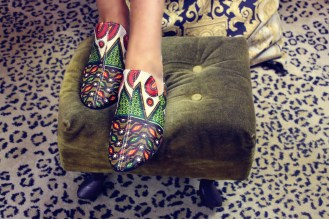 Fun, fun, fun colorful smoking slipper shoes made from hand-designed African fabric