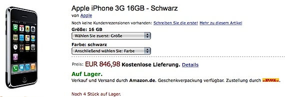 Apple iPhone 3G 16GB schwarz bei Amazon.de