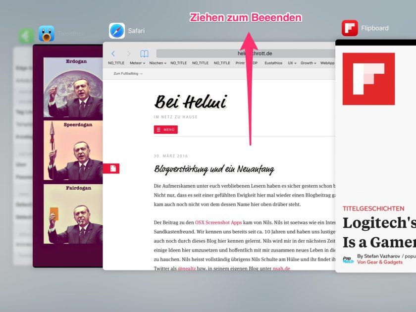 Apps vollständig schließen mit dem App Switcher auf dem iPad