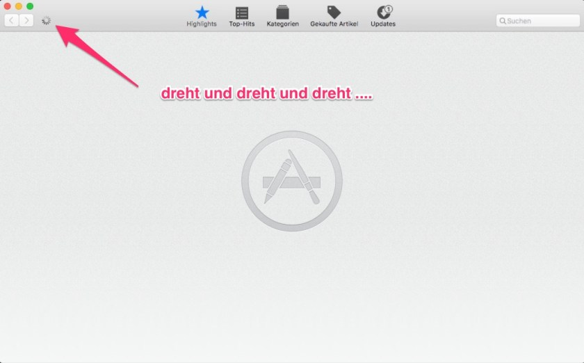 Mac App Store Problem: Anzeige lädt nie fertig