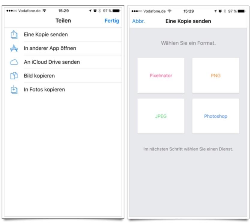 Pixelmator iOS: Bild Exportieren