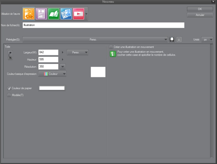 menu de création d'un nouveau fichier dans clip studio paint