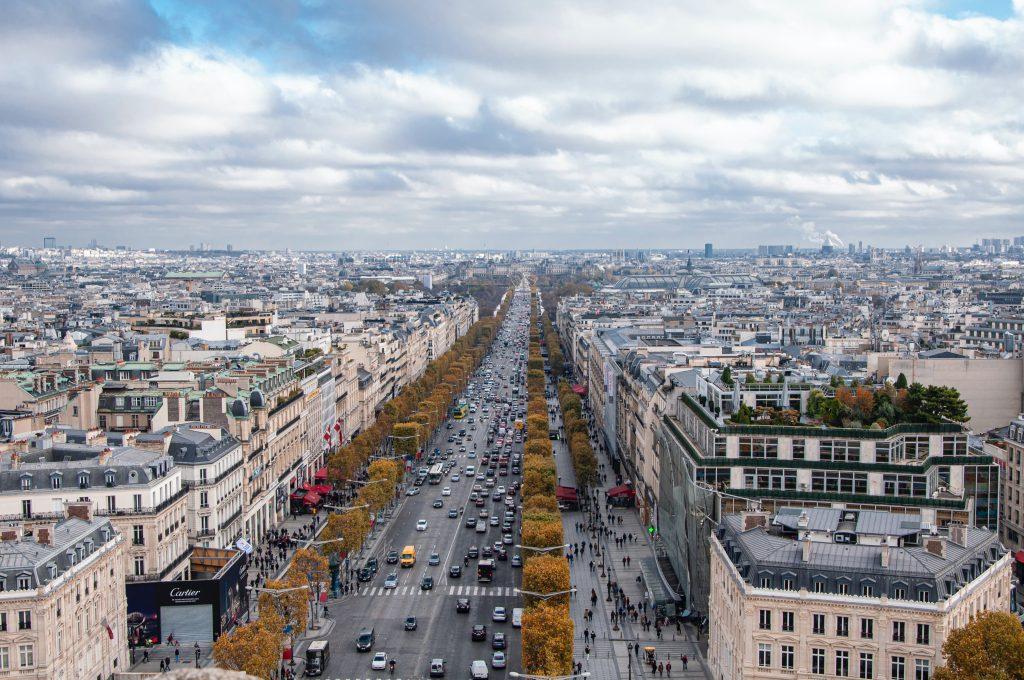 Champs-Elysées Vogelperspektive