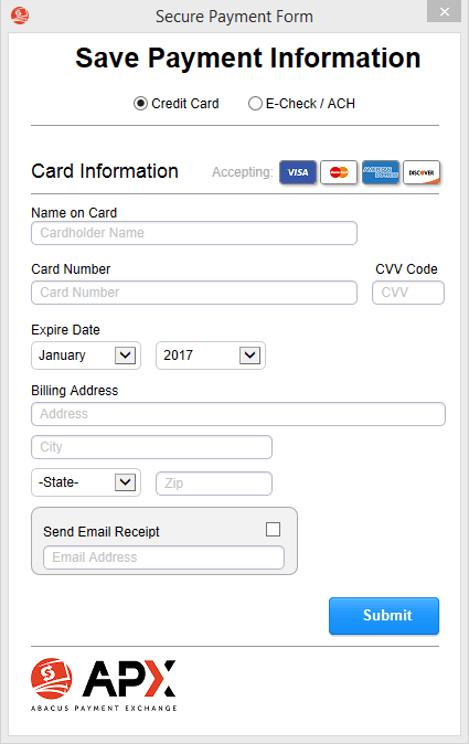 adding credit card ach