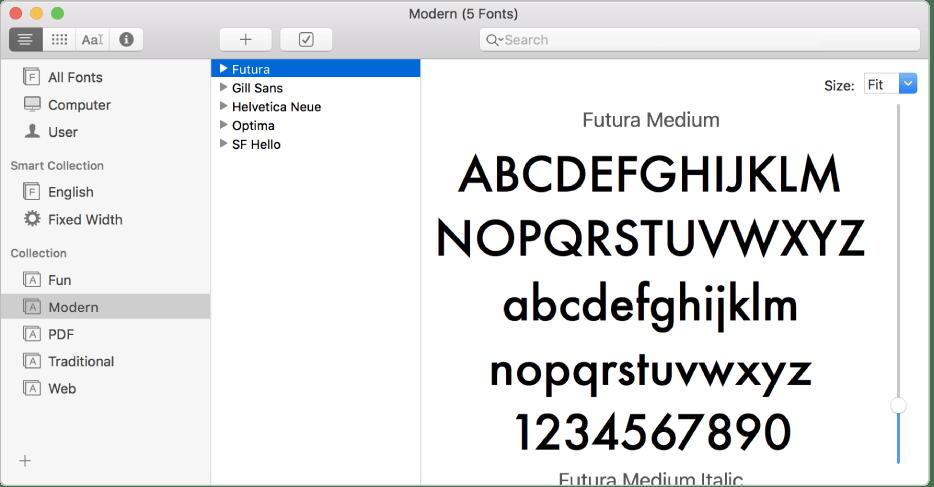 """Willkommen bei der App """"Schriftsammlung"""" auf dem Mac"""