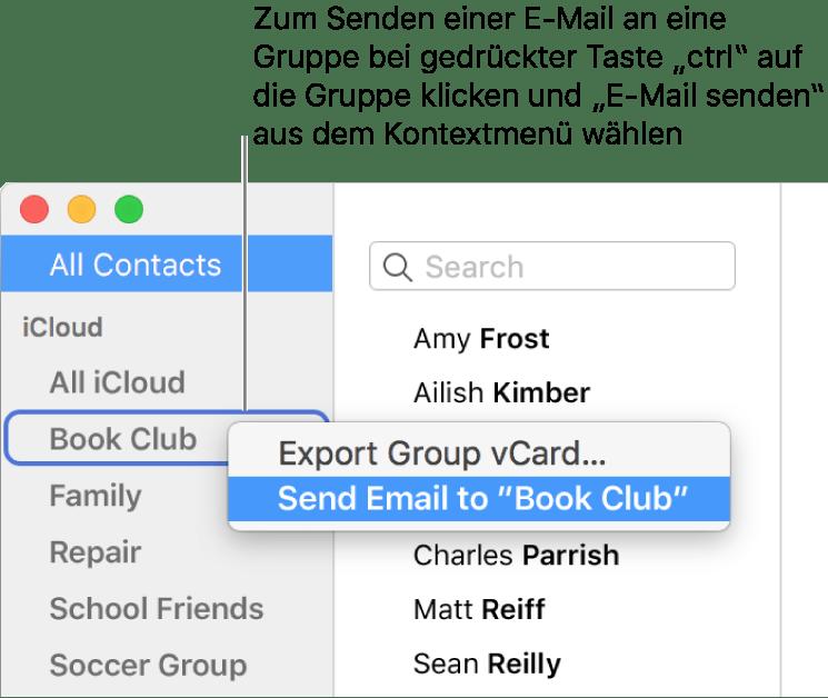 Senden Einer E Mail An Eine Gruppen Von Kontakten In Der App
