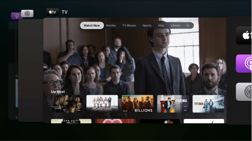 Pantalla del Apple TV mostrando el selector de apps