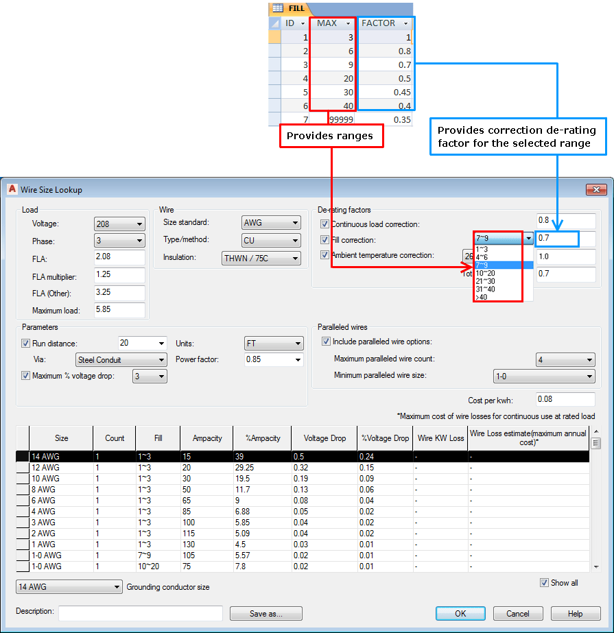hight resolution of a suffixed fill table name is not necessary unless you plan to set up the electrical standards database to support multiple standards
