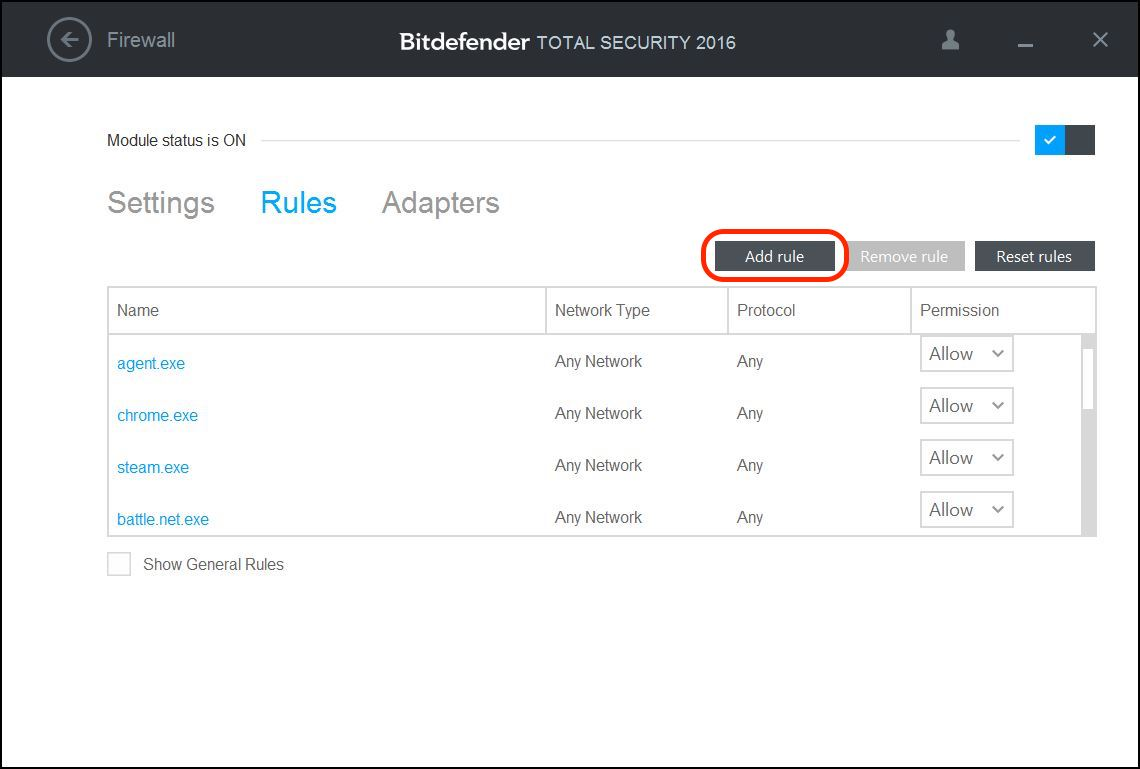 How to configure Bitdefender's Firewall for Backblaze