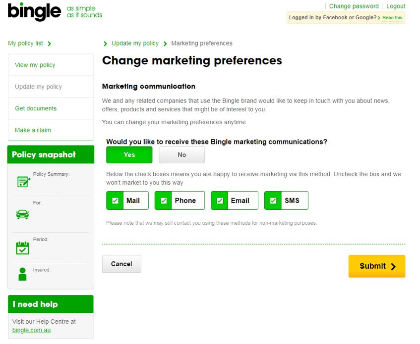 How do I update my marketing preferences? – Bingle Help Centre