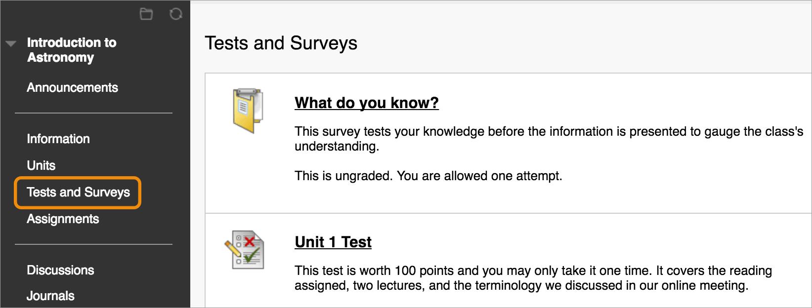 Where Do I Access Tests And Surveys?