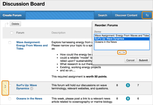 Manage Discussions  Blackboard Help