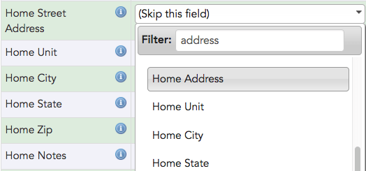 "Manually map any fields that haven't been automatically mapped using the drop-down list. Use the filter to focus your search (e.g. typing ""address"" will show only address-related Broadstripes fields)."
