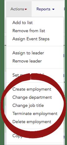 Actions – Change Employment, Department, Job Title