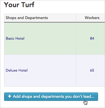 Click the **+ Add shops** button to add another location to your turf tab.