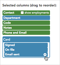 Delete a column by clicking the minus sign next the the column's name.