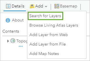 Search for Layers option
