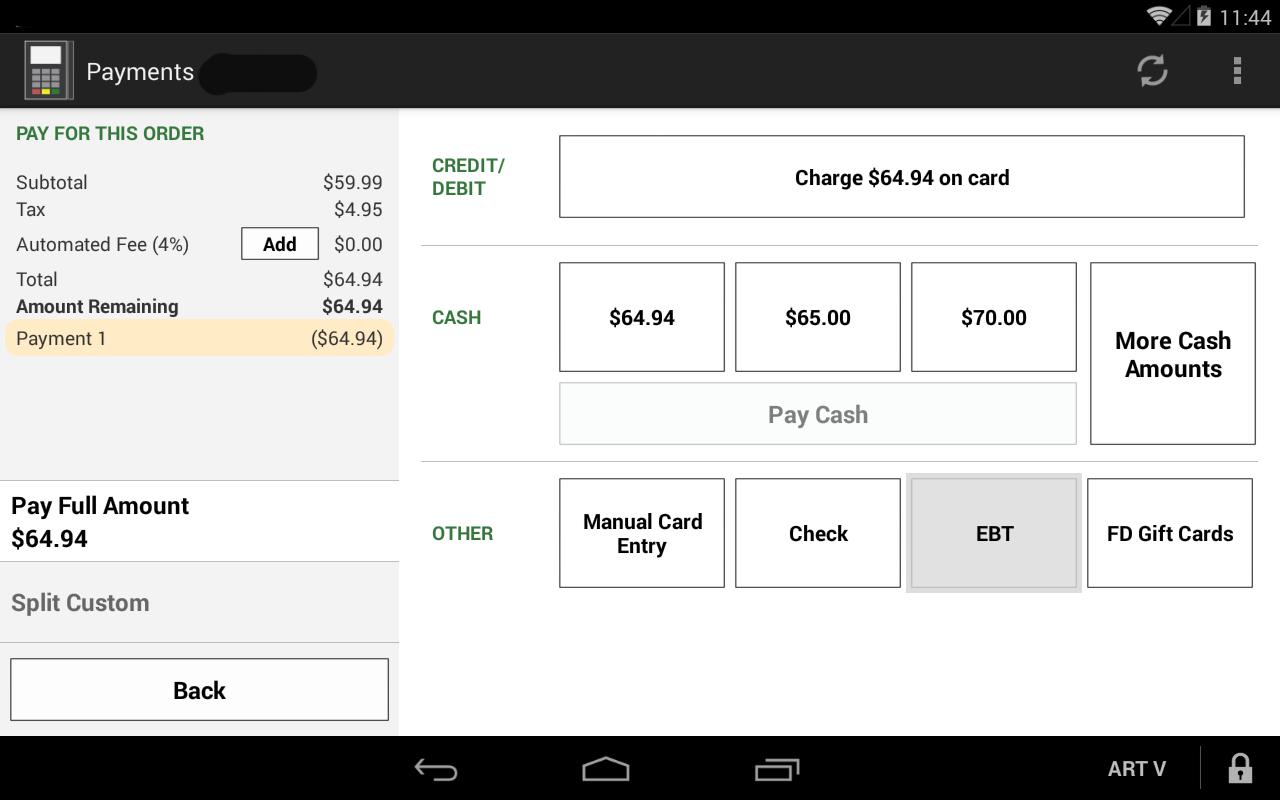 Take EBT transactions and check balance