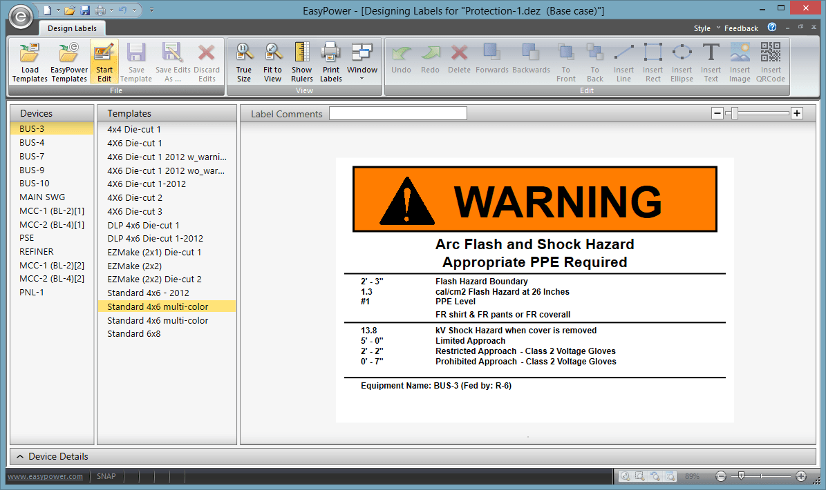 The Different Label Templates Available. The List Of Devices From The  Arc Flash Hazard Report Is Also Displayed Here So That You Can See How Each  Label