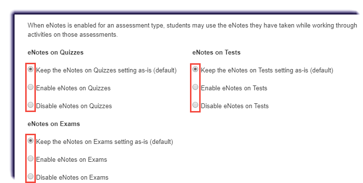 Enabling/Disabling eNotes for Multiple Courses