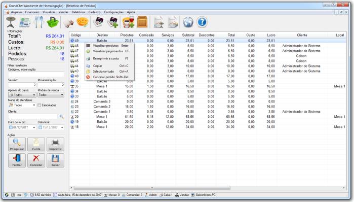 Captura de tela do sistema GrandChef exibindo um relatório de pedidos