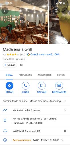Captura de tela do Google Maps em um smartphone. A tela exibe informações de um restaurante, incluindo fotos, endereço e botões para obter rotas e ligar para o estabelecimento.