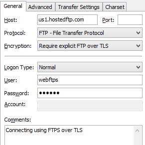 Connecting using FileZilla