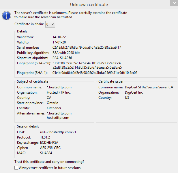 Connecting with an FTP Client | Hosted~FTP~ Help