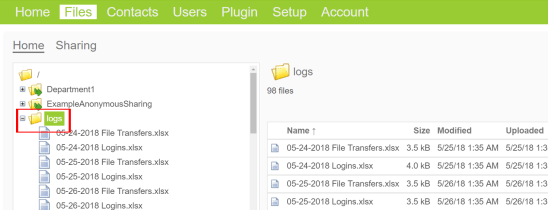 locate the logs folder in your files directory