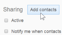 locate the Add contacts button to begin selecting your recipients