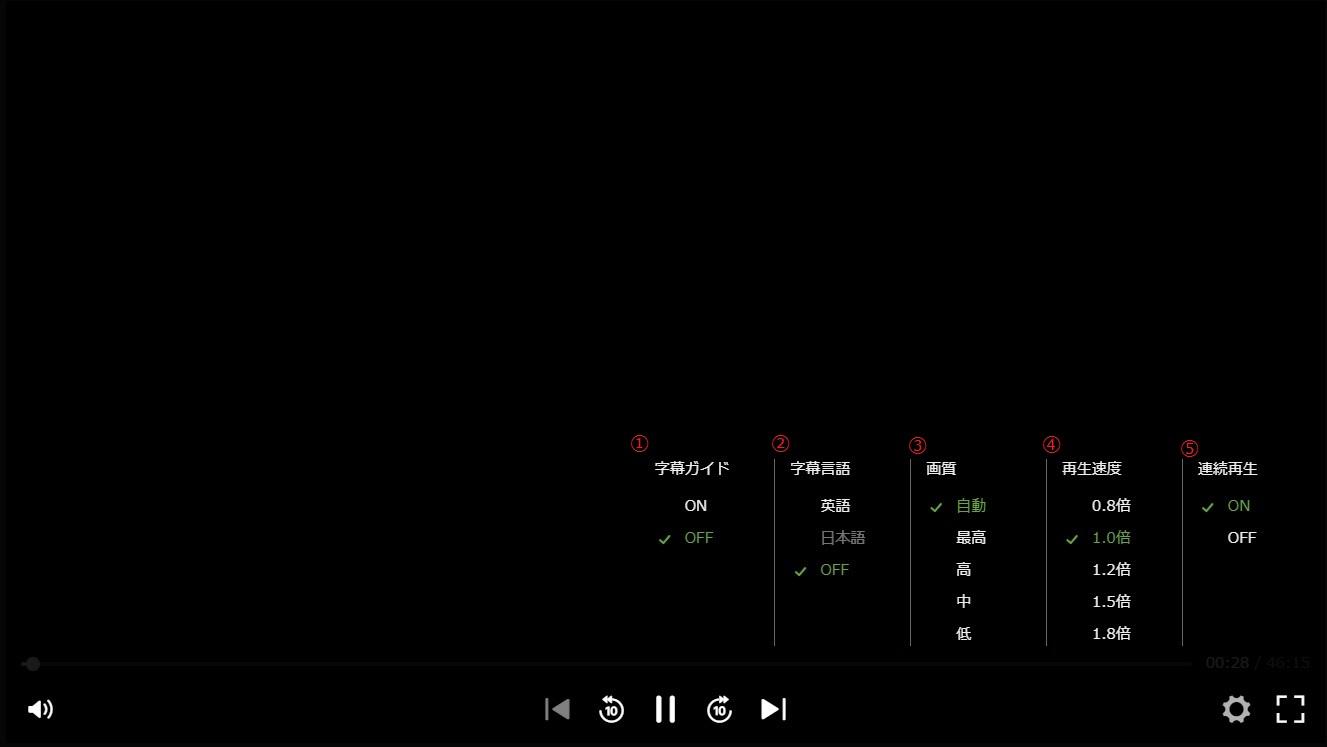 [パソコン]再生中の操作方法/ショートカット機能 – Hulu ヘルプセンター