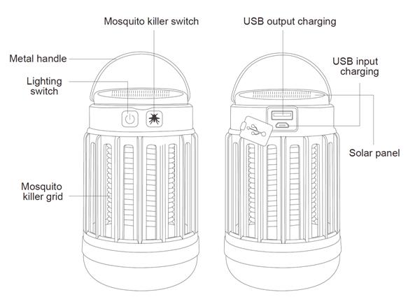 Komodo USB Solar Rechargeable Portable Mosquito Zapper