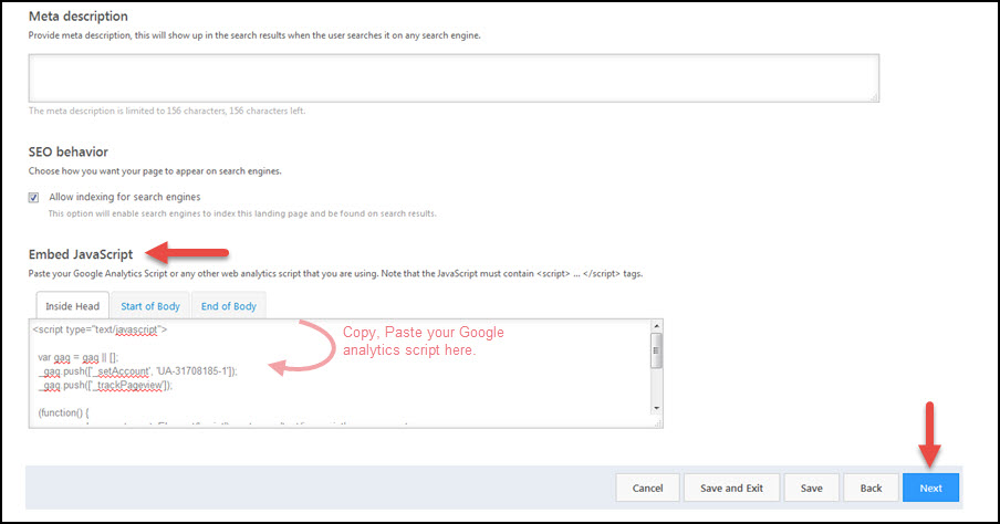 How can I track Landing Page visits in Google Analytics