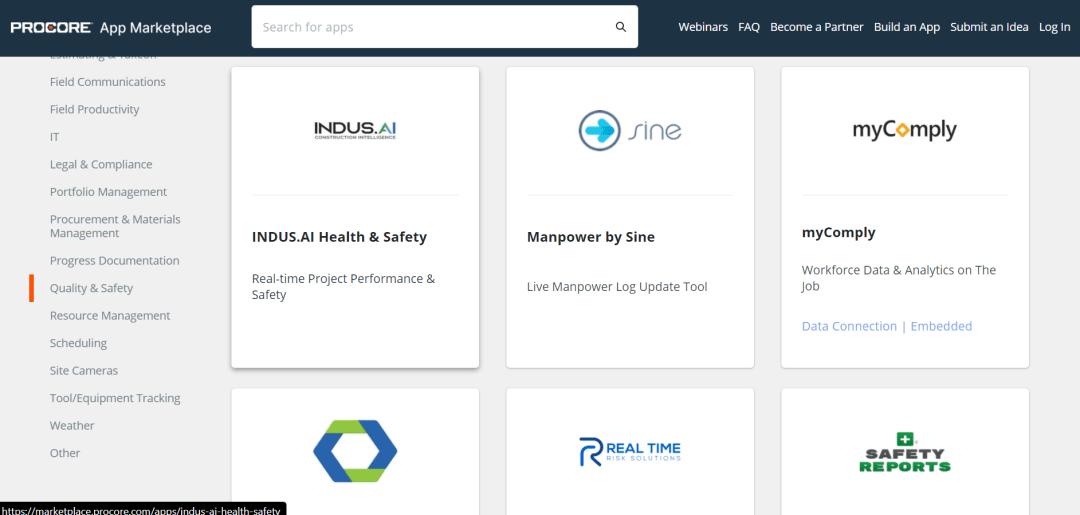 screenshot of procore's app marketplace