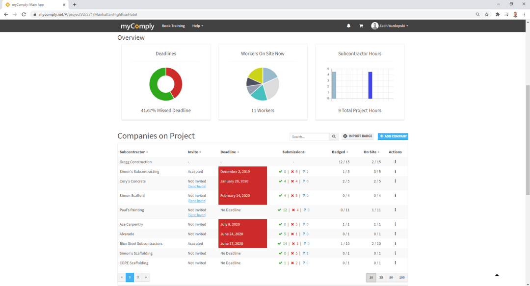 screenshot of mycomply projects pro