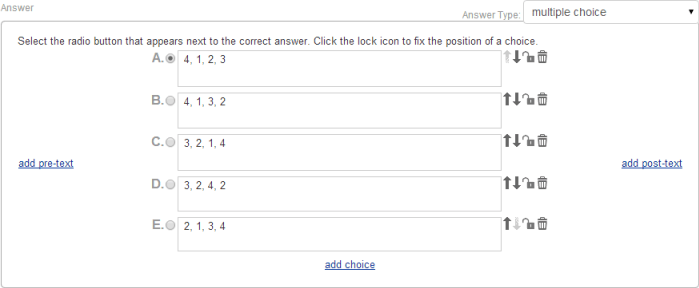 Multiple choice answer type