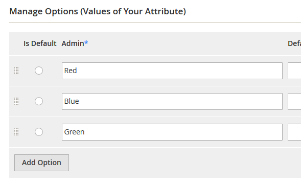 attribute options