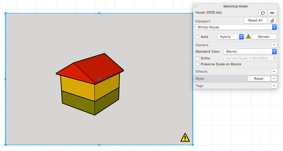 hight resolution of when a sketchup model entity in a layout presentation needs to be rendered a yellow